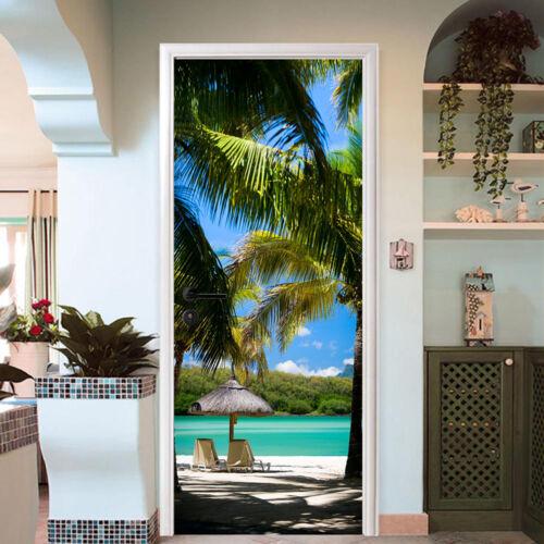 3D Coconut Tree Beach 6 Door Wall Mural Photo Wall Sticker Decal AJ WALLPAPER CA