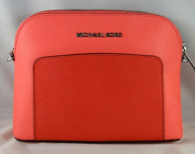 8fa59697401b Michael Michael Kors Cindy Pocket Large Dome Coral Leather Crossbody