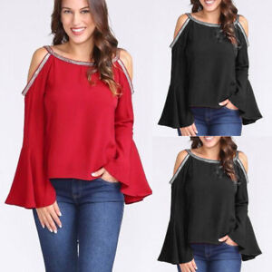 Women-Girl-Sexy-Blouse-Top-Glitter-Cold-Shoulder-Long-Flare-Sleeve-T-shirt-Top