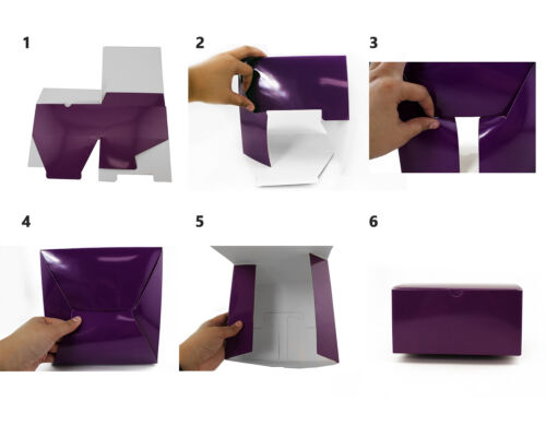 """10pk Medium PURPLE Paper Gift Boxes Christmas Wrapping Gift Supplies 8x8x4 /"""""""