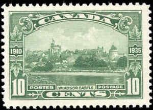 Mint-H-Canada-1935-F-Scott-215-10c-Windsor-Castle-Silver-Jubilee-Stamp