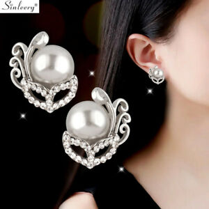 Details About Hollow Mask Pearl Cubic Zirconia Clip Stud Earrings Wedding Jewelry White Gold