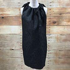 NEW HUGO BOSS Black Sleeveless Abstract Shift Dress Ruffle Size UK 12 A07448