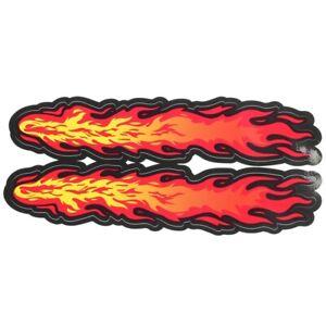 2-boites-Jaune-Rouge-Flamme-Feu-Design-vehicule-voiture-autocollants-autocollant