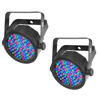 (2) Chauvet SlimPar 38 LED DMX Slim Par Can Stage Pro DJ RGB Lighting Effects