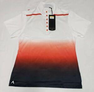 NEW-Antigua-Womens-Hype-Desert-Dry-Golf-Snap-Polo-Shirt-White-Red-Black-Size-S