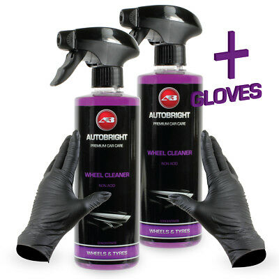 Autobright Alloy Wheel Cleaner Contaminant Non Acid concentrated 2x500ml +Gloves
