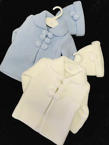 fae95e0a0d00 BABY BOYS BLUE-WHITE SPANISH KNITTED POM POM CARDIGAN JACKET-COAT ...