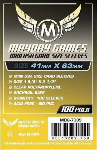 100 mini USA Carte Manches Mayday Games MDG7039 41 mm x 63 mm