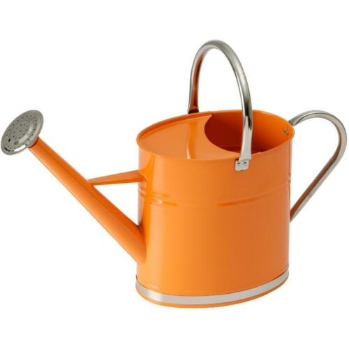 6L Galvanized Watering Can with Brightly Coloured Tangerine Body