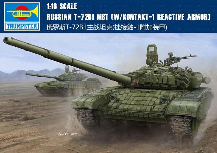 00925 Trumpeter 1 16 Model T-72B1 MBT Tank W Kontatk-1 Armored Vehicle Kit