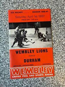Wembley Empire Pool - Wembley Lions - Ice Hockey Programme 01/04/1967