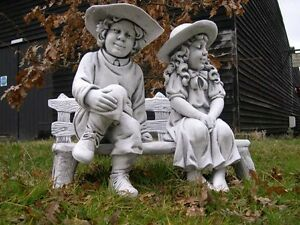 Image Is Loading Town Boy And Girl On Bench Garden Statue