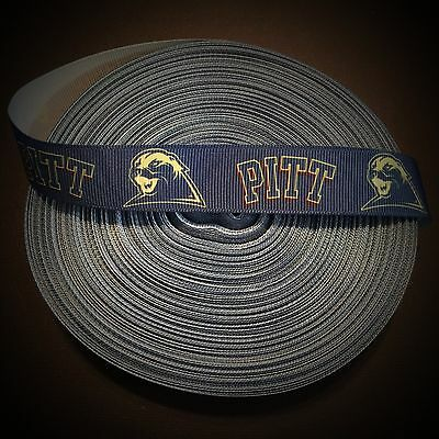 "Pittsburgh S inspired 7//8/"" White Grosgrain Ribbon By The Yard USA Seller"