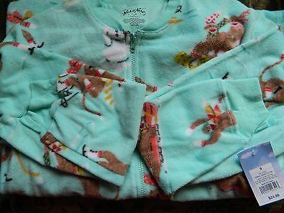 NICK & NORA Flannel Pajama - Open Toe Onsie - Women's Sock Monkey - New w/Tags