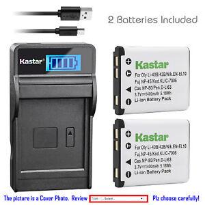 Kastar-Battery-LCD-USB-Charger-for-Olympus-Li-40B-Li-42B-amp-Olympus-VR-310-Camera