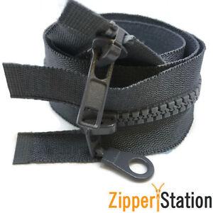 5-x-Grey-Plastic-Chunky-Teeth-2-way-zip-zipper-75-cms-long