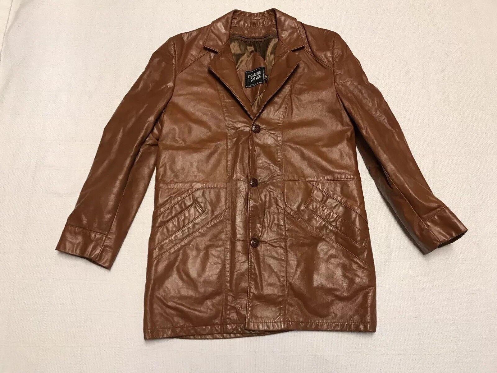 Vintage Braun Leder Ultra Swag Hipster Removable Liner Blazer Coat  Herren 40 M