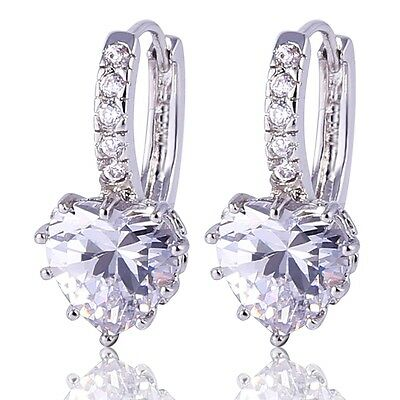 18K white gold filled white sapphire crystal  woman everlasting hoop earring