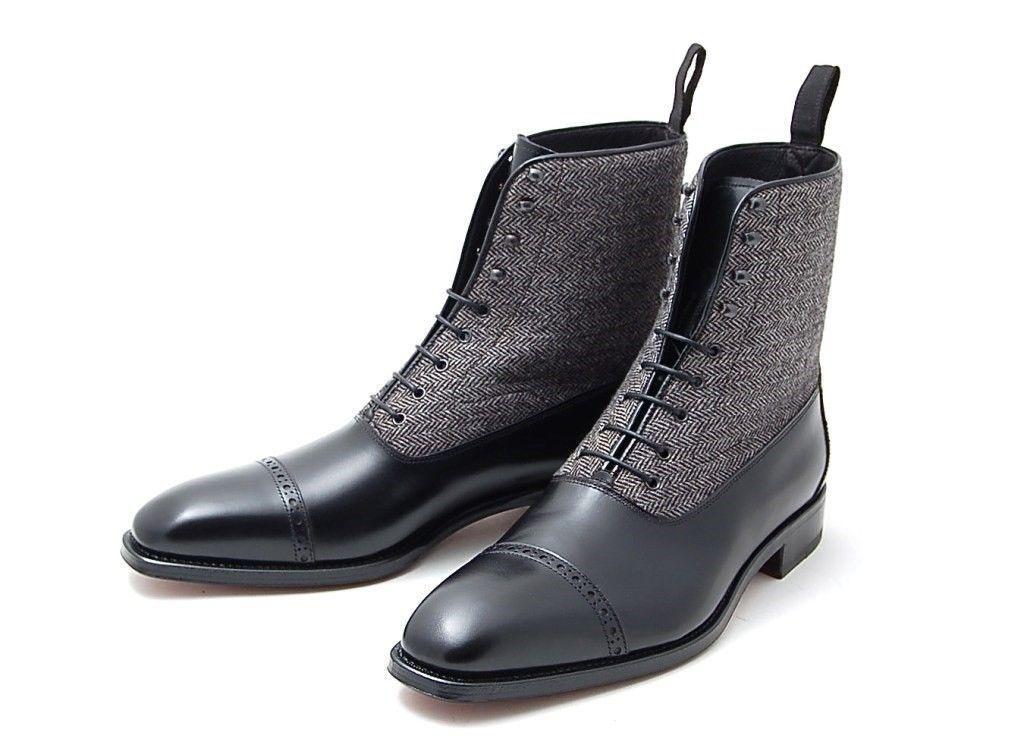 miglior reputazione Uomo Fatto A Mano Mano Mano Pelle Scarpe Nero & Grigio Due Tono Alto Caviglia Stivali  presa di marca