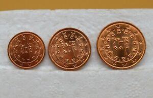 PORTUGAL 2002 : 1 série de 3 pièces 1, 2 et 5 cents. UNC