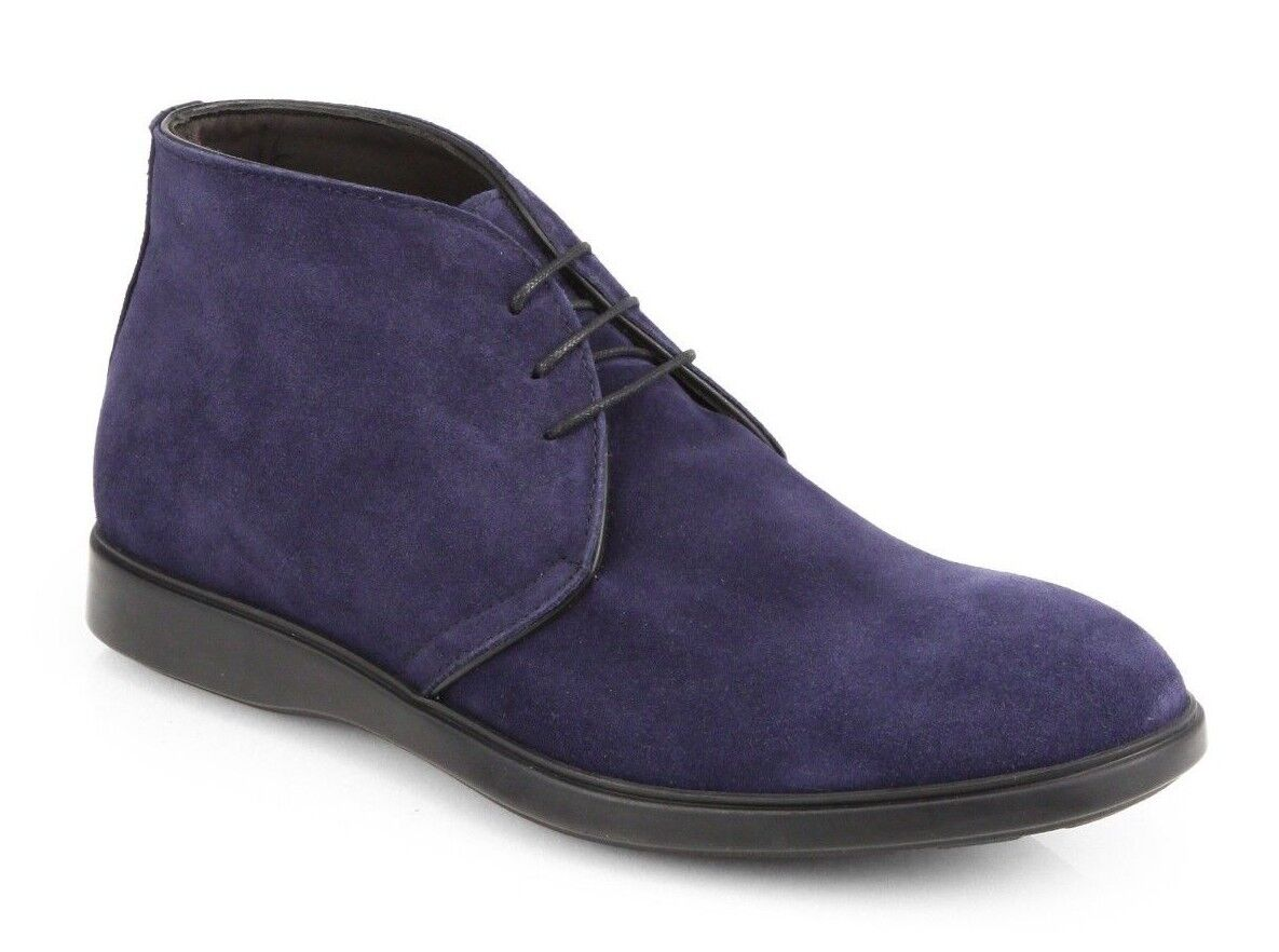 SAKS FIFTH AVENUE  MENS NAVY BLUE SUEDE LEATHER CHUKKA BOOTS 13 NIB