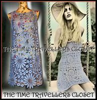 TOPSHOP LILAC BLUE VINTAGE 60s CROCHET SLEEVELESS MINI SHIFT DRESS UK M 12 14