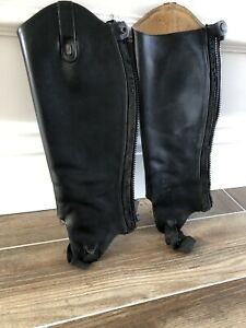 Treadstep-Half-Chap-Gaiters-Leather-Black-Size-Calf-14-Length-16