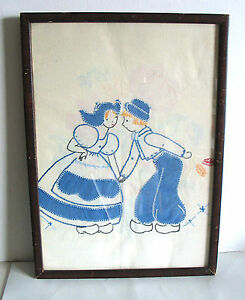 Hand-Made-Embroidery-Needlework-DUTCH-KISS-Framed-Under-Glass-10-75x15-FREE-SH