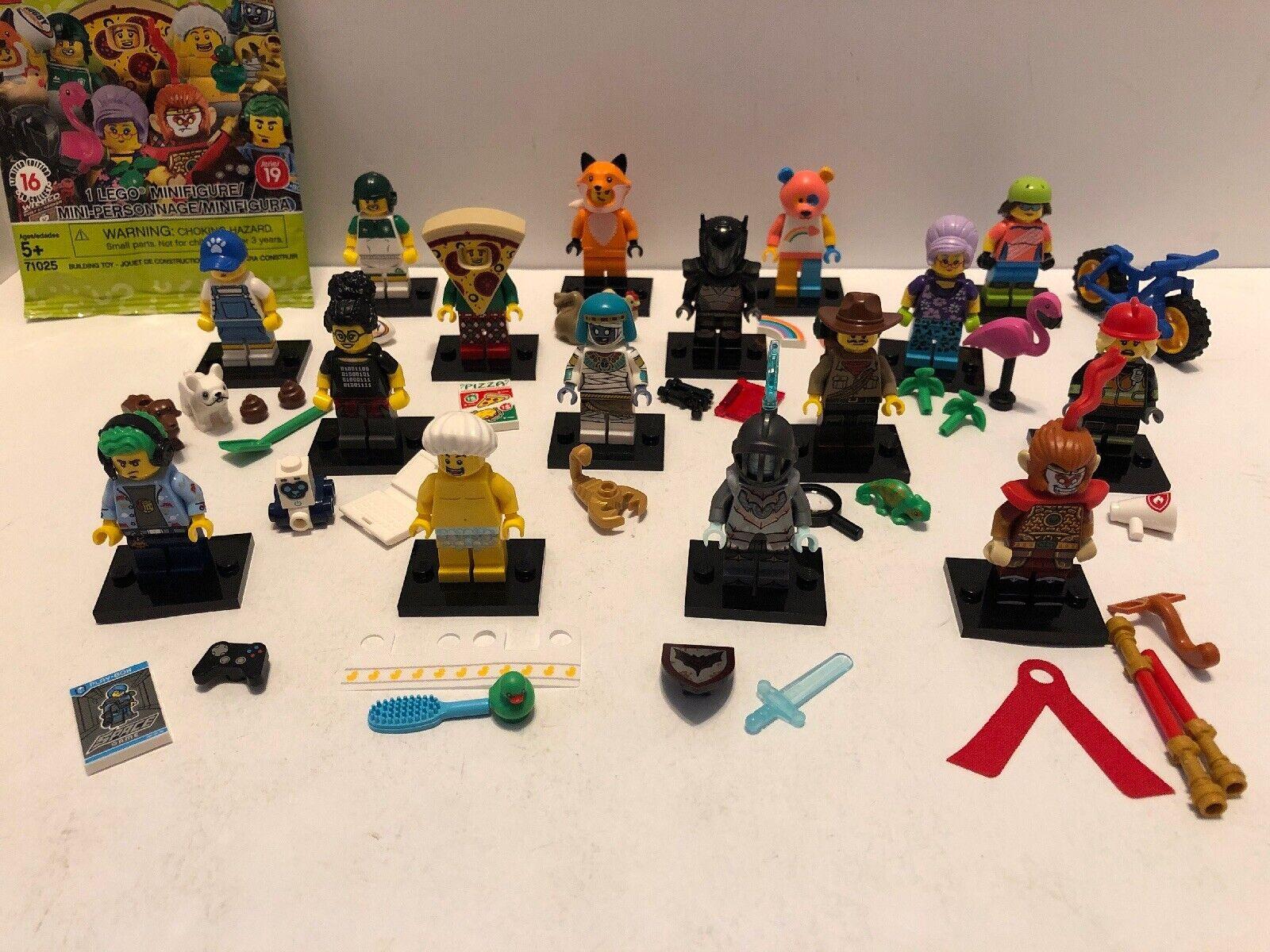 Lego Minifigura Serie 19 71025 juego completo de 16 Cocheacteres, abierto para ver las fotos
