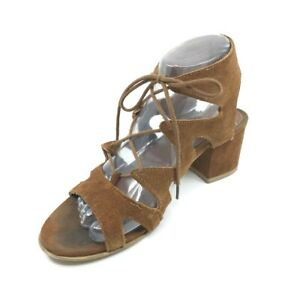 ad3cf9083dd Details about Steve Madden Hayylo Cutout Lace Up Chunky Heels Gladiator  Sandals Size 7 Brown