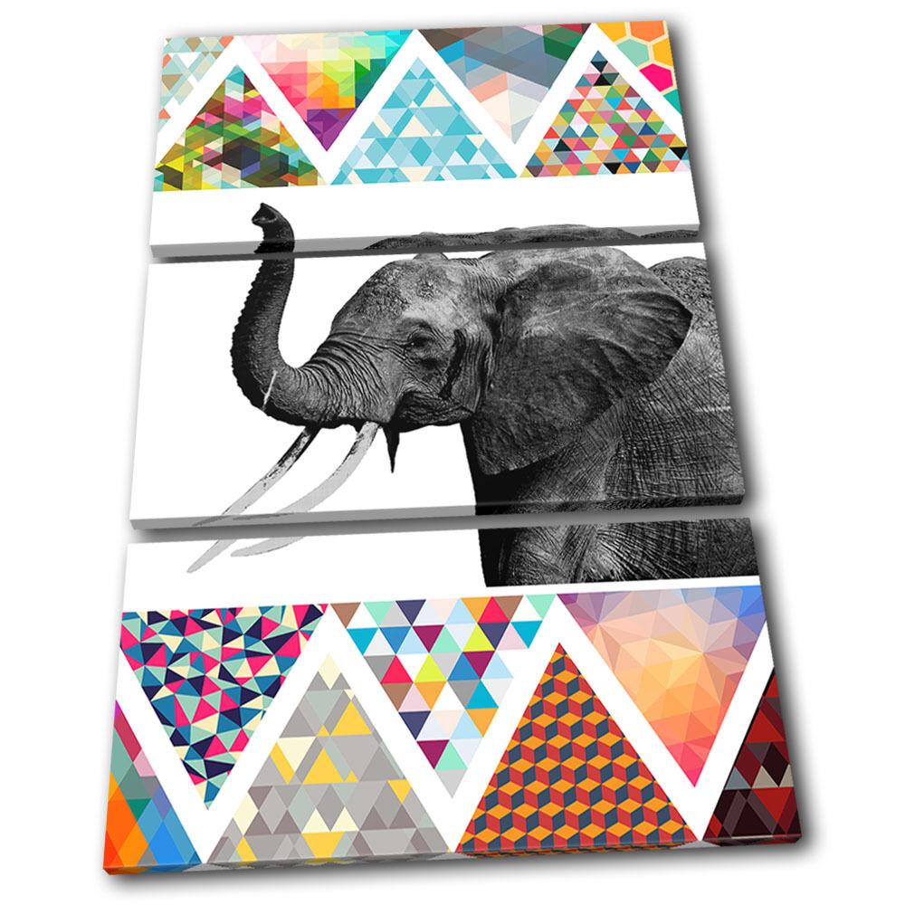 Elephant Geometric Africa Animals Animals Animals TREBLE TELA parete arte foto stampa 77ad28