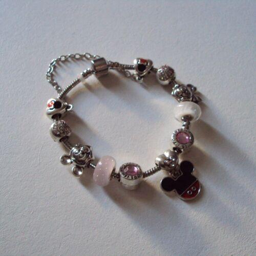 long neuf Bracelet maille serpent avec breloques Mickey-Minnie : 19,5 cm