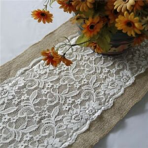 Image Is Loading 108x28cm Hessian Ribbon Burlap Lace Table Runner Cloth