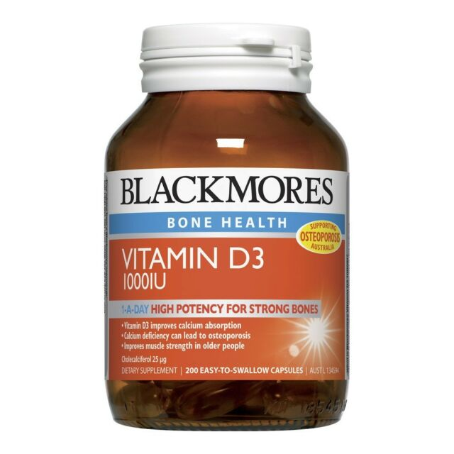 BLACKMORES VITAMIN D3 1000IU 200 CAPSULES HIGH POTENCY STRONG BONES ONE A DAY