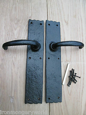BLACK ANTIQUE VINTAGE OLD STYLE  BARN STABLE LARGE OAK WOODEN DOOR HANDLES