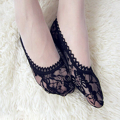 New Women Rose Lace Invisible Shallow Mouth Socks Boat Non-slip Short Socks Hot