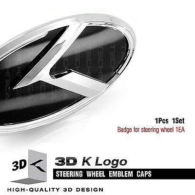 3D K Logo Steering wheel Horn Cap Emblem For KIA Soul 2009 2015