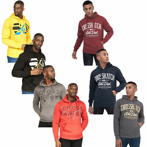 Mens-Sweatshirt-By-Crosshatch-Over-The-Head-Hoodie-Printed-Pullover-Cotton-Top