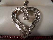 10K SOLID WHITE GOLD .29CT DIAMOND HEART LOVE CHAIN NECKLACE PENDANT CHARM 10KT