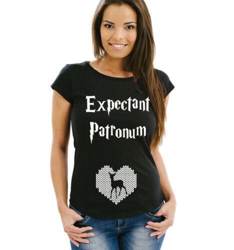 Expectant patronum Grossesse révéler Femme T-shirt noir avec cœur et Elk