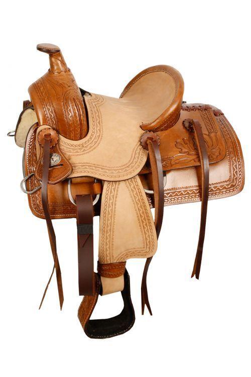Double T  Pony hard seat roper style saddle with acorn tooling 10