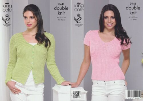Ladies Double Knit Ribbed DK Knitting Pattern King Cole Womens Cardigan Top 3941