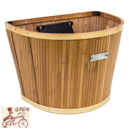 SUNLITE BAMBOO SLAT QUICK RELEASE FRONT BICYCLE BASKET