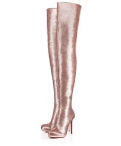 NIB Christian Louboutin Moulin Noir 120 Nude Pink Sequin Thigh High Heel Boot 38
