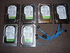 JOB LOT 6 x HARD DISCS 160gb DISKS WESTERN DIGITAL HARD DRIVES SATA 3.5""