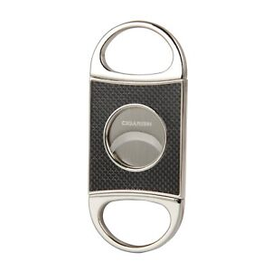CIGARISM-Genuine-Carbon-Fiber-Stainless-Steel-Cigar-Cutter-Punch