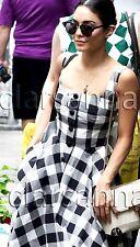 Dolce & Gabbana AUTH NWT Fit & Flare Full Skirt Sun Dress 42 Black White Gingham