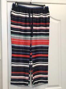 Ann Taylor Loft Slinky Blue/white/green/orange/mauve Ankle Pants. Size Med. New. 2019 New Fashion Style Online