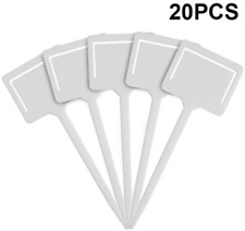 100PCS Plastic Plant T-Type Tags Markers Nursery Garden Labels White US STOCK